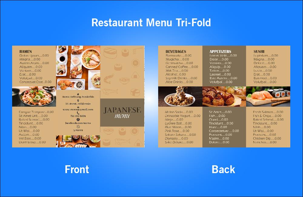 Restaurant Japanese Tri-Fold Menu - V44