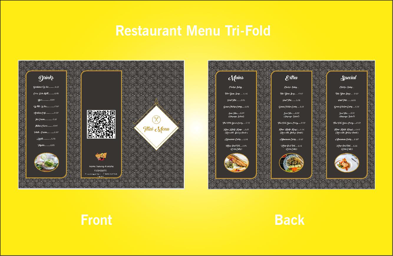 Restaurant Thai Tri-Fold Menu-S49