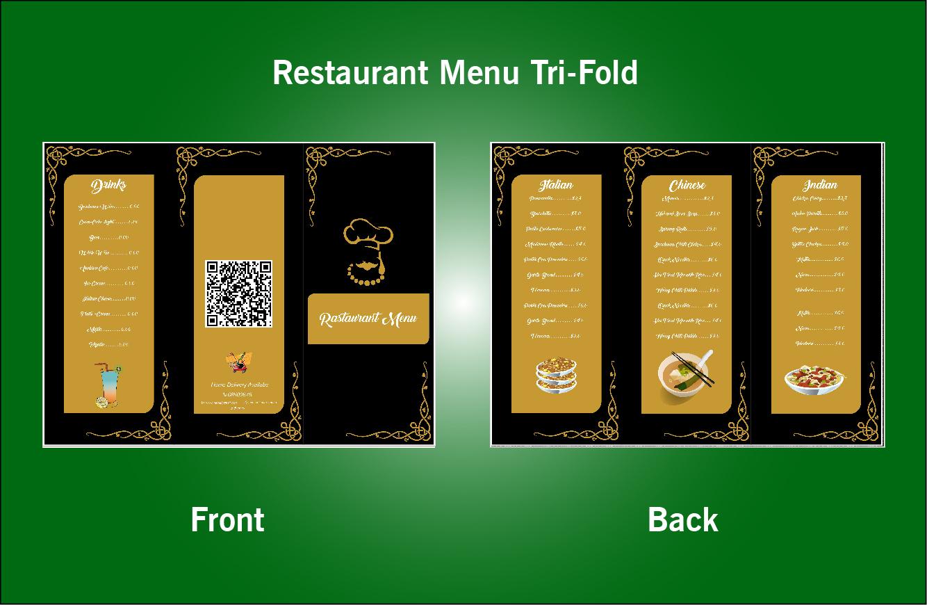 Restaurant Tri-Fold Menu-S50