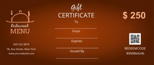 Restaurant Menu Gift Certificate