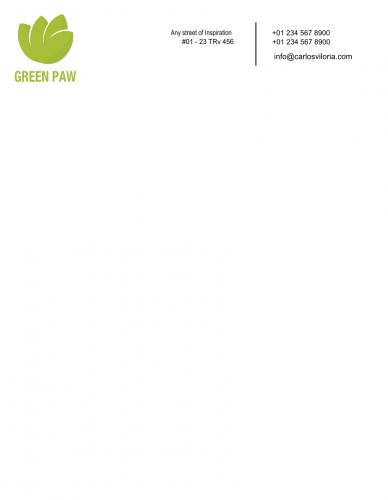 Green paw Letterhead